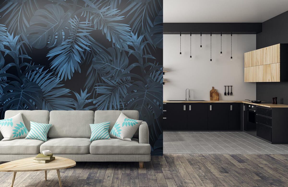 pattern Blauwe tropische bladeren 6
