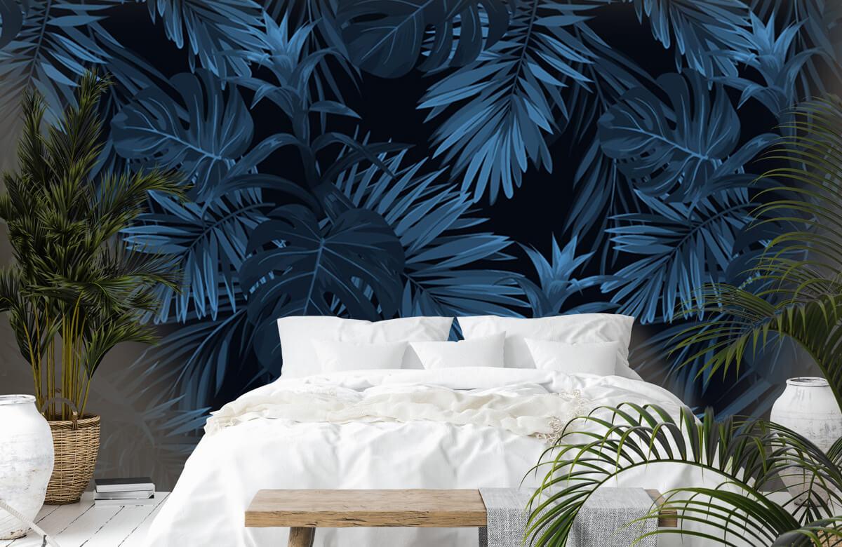 pattern Blauwe tropische bladeren 7