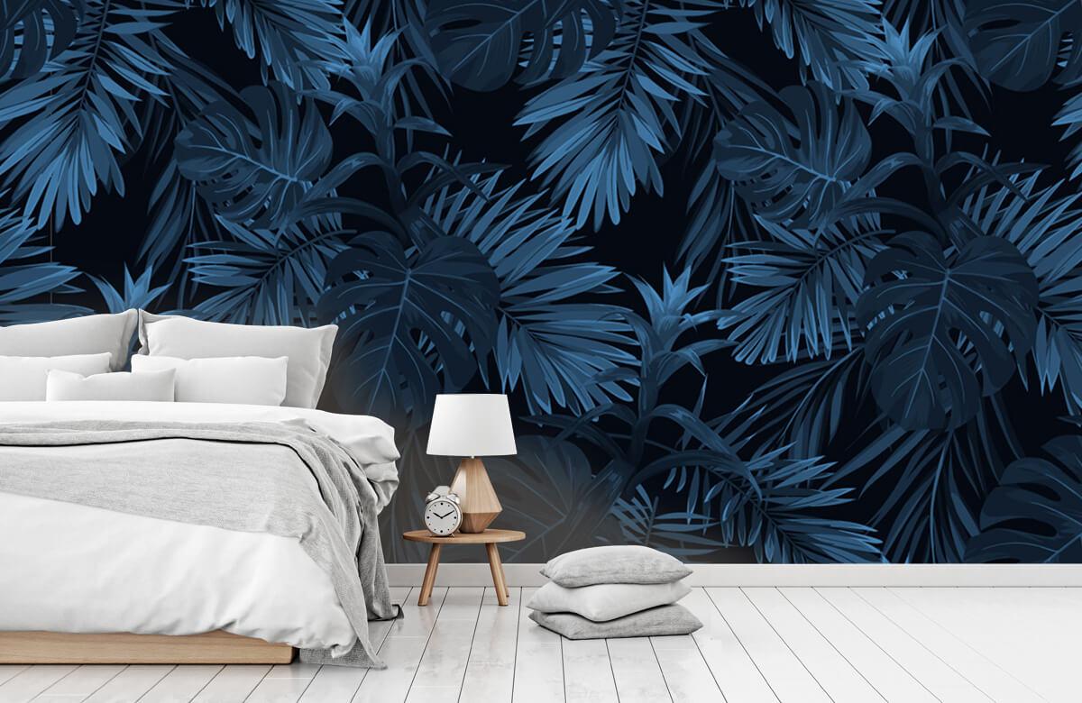 pattern Blauwe tropische bladeren 8