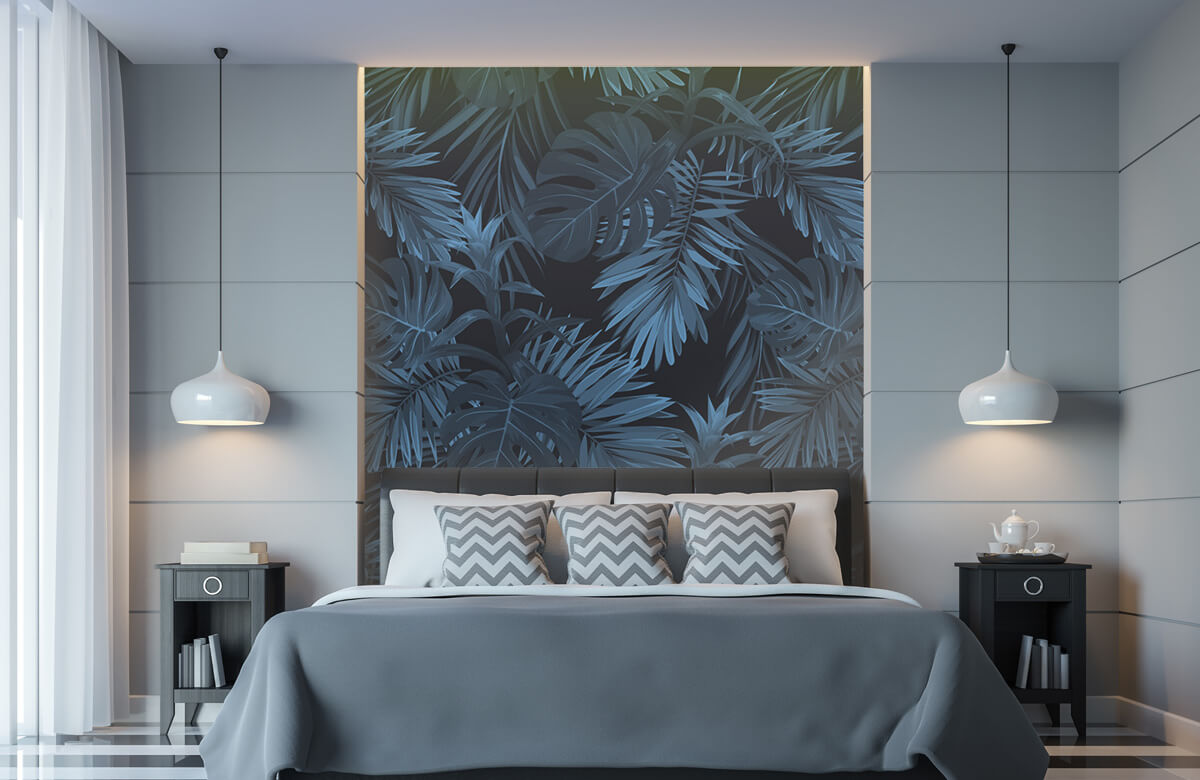 pattern Blauwe tropische bladeren 9