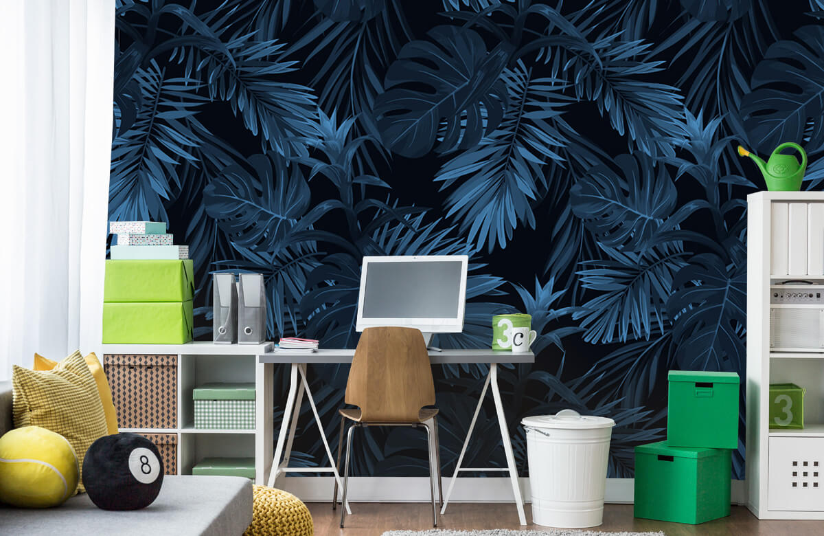 pattern Blauwe tropische bladeren 10