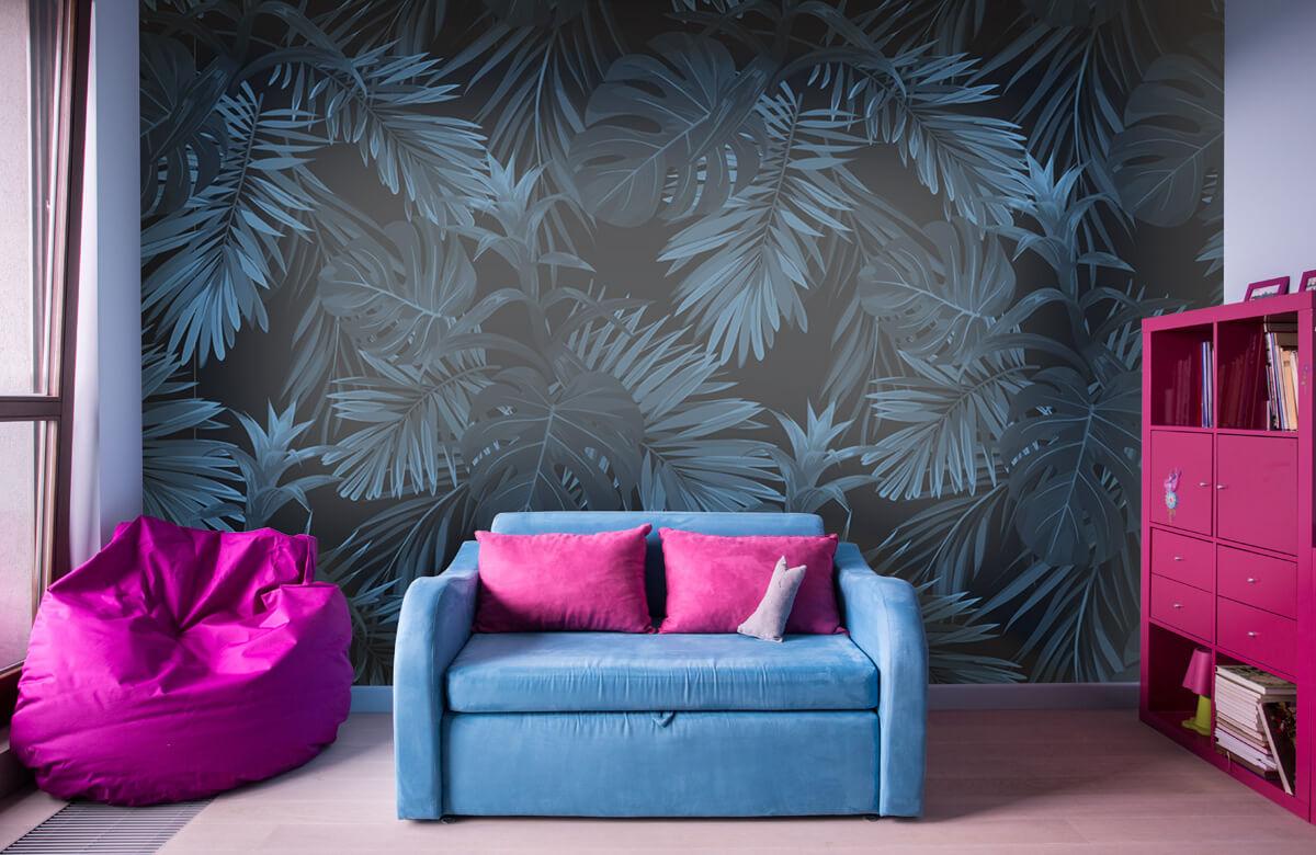 pattern Blauwe tropische bladeren 4