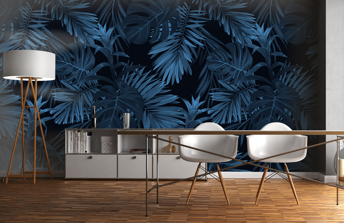 pattern Blauwe tropische bladeren 11