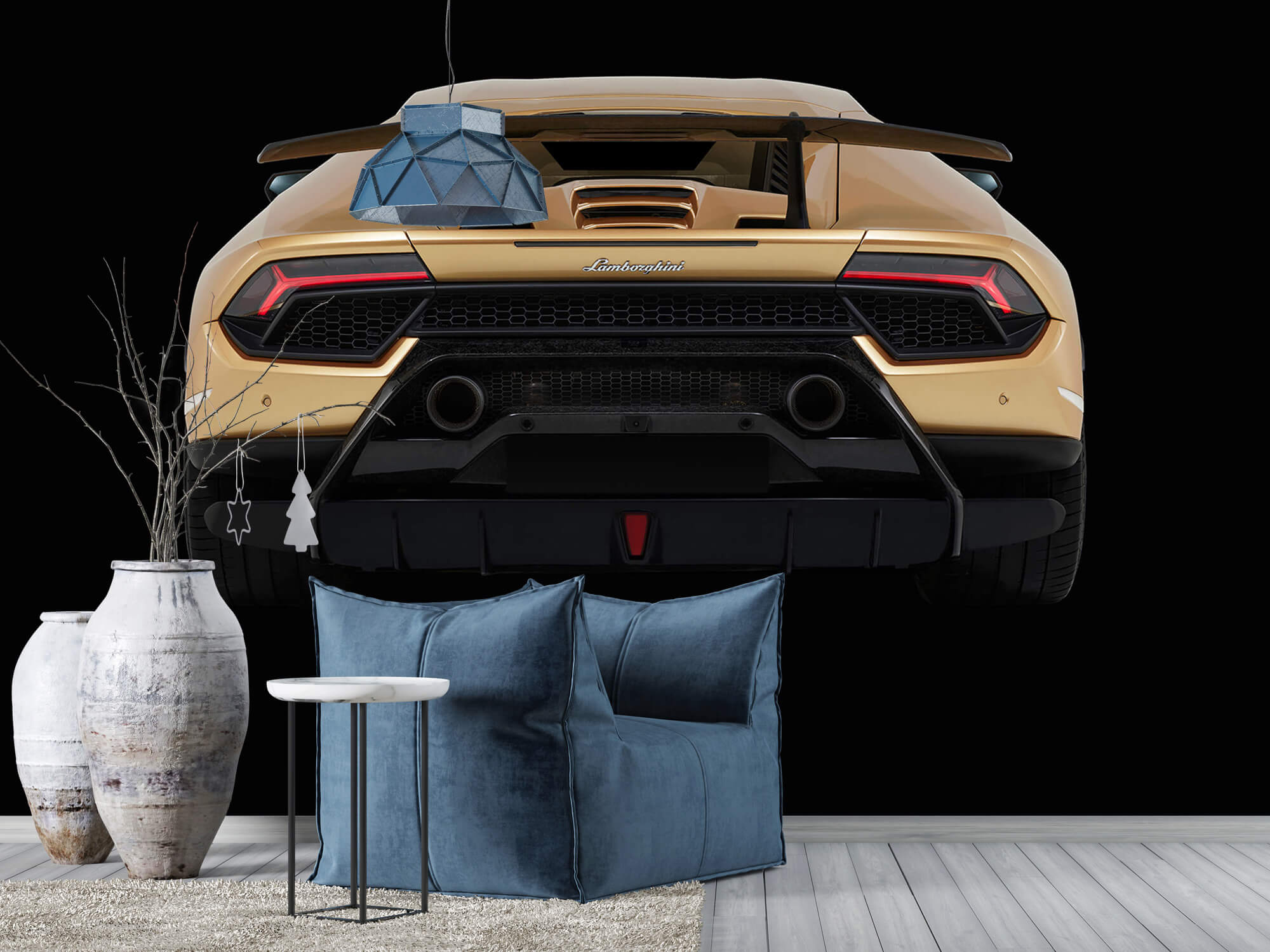 Wallpaper Lamborghini Huracán - Achterkant, zwart 8