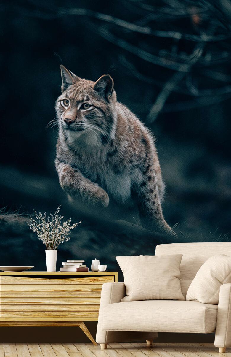 wallpaper Lynx in het bos 1