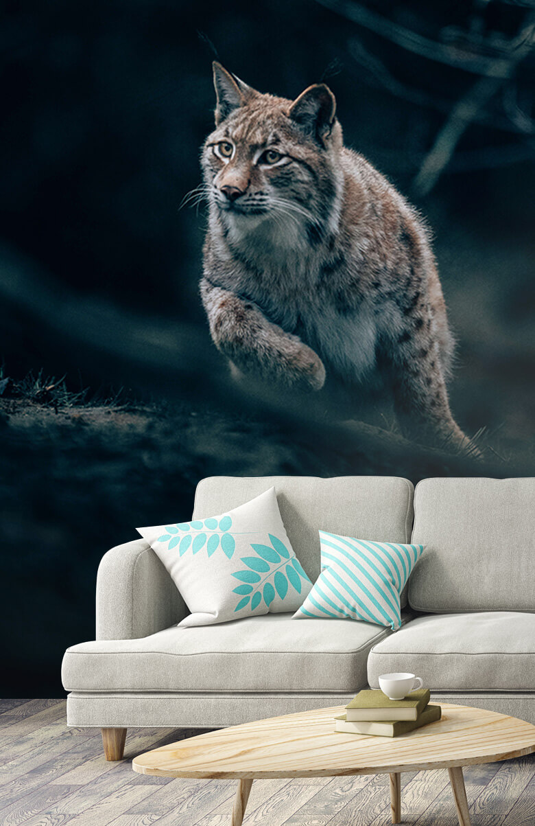 wallpaper Lynx in het bos 3