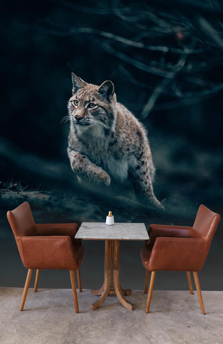 wallpaper Lynx in het bos 4
