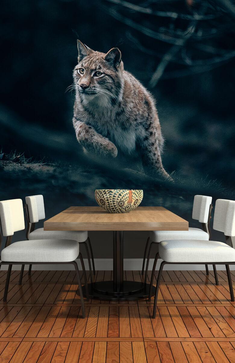 wallpaper Lynx in het bos 2