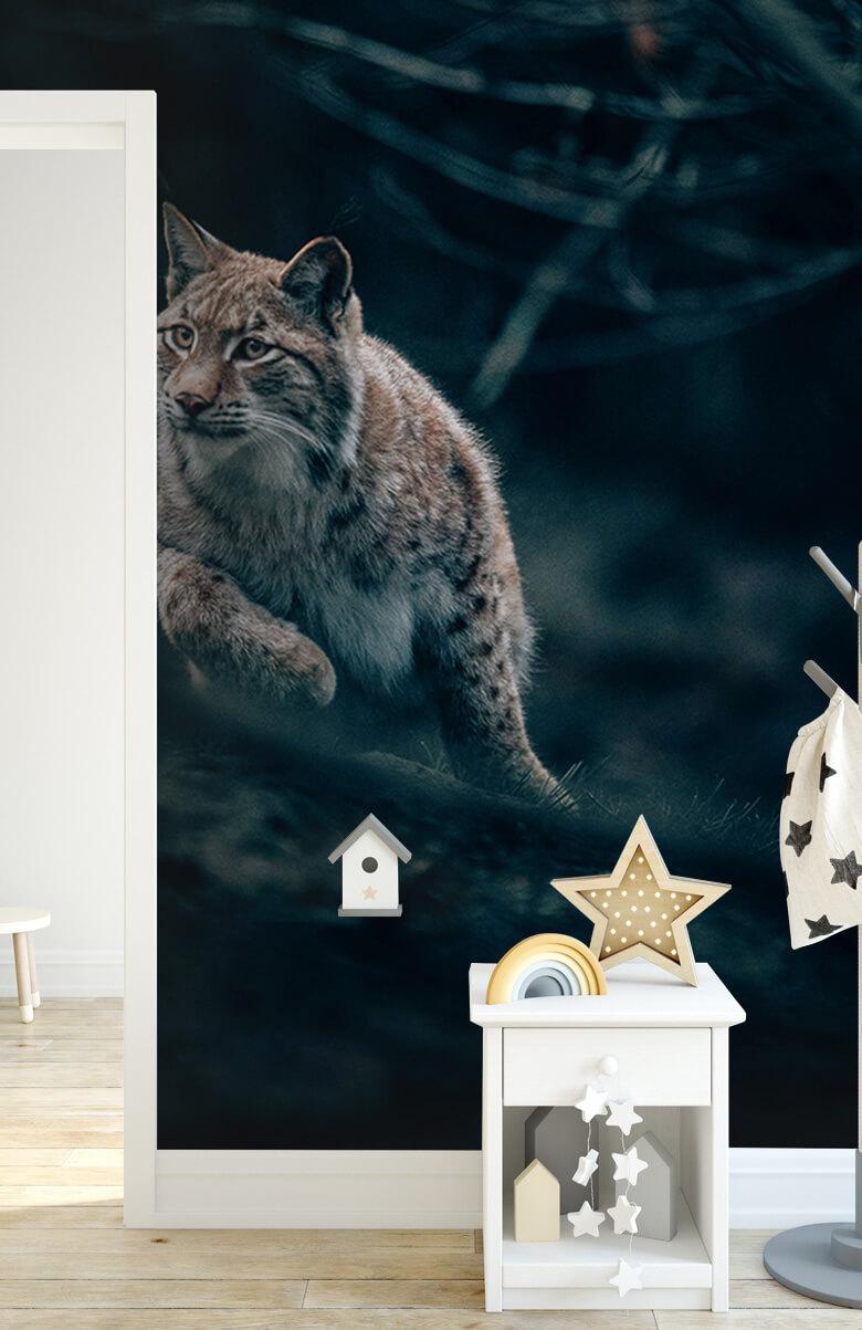 wallpaper Lynx in het bos 5