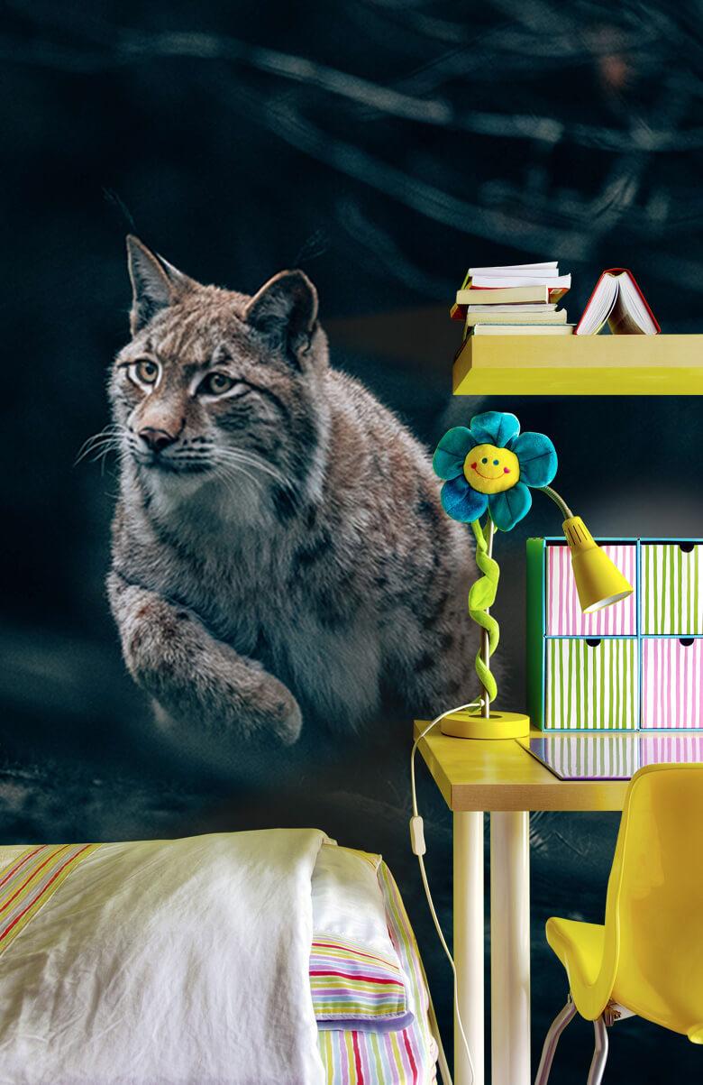 wallpaper Lynx in het bos 6