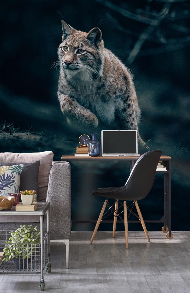 wallpaper Lynx in het bos 7