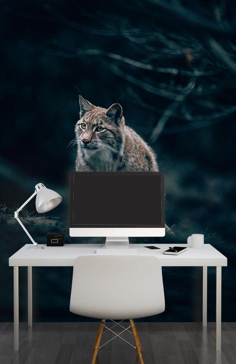 wallpaper Lynx in het bos 8