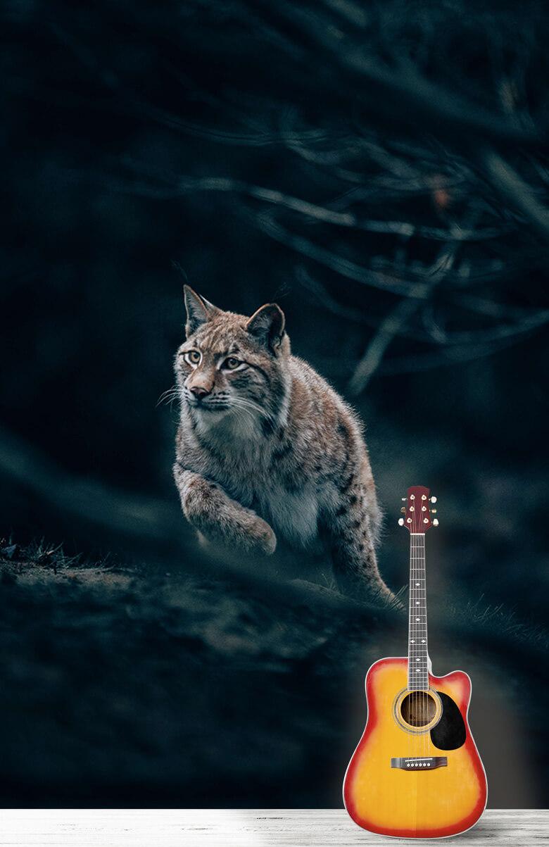 wallpaper Lynx in het bos 9