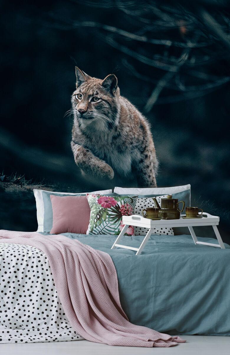 wallpaper Lynx in het bos 11