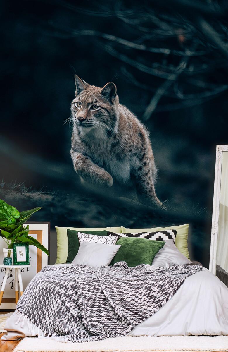 wallpaper Lynx in het bos 12