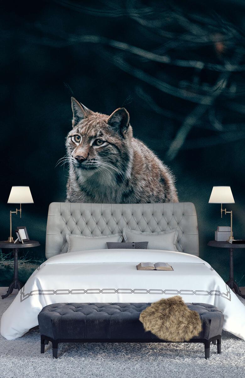wallpaper Lynx in het bos 13