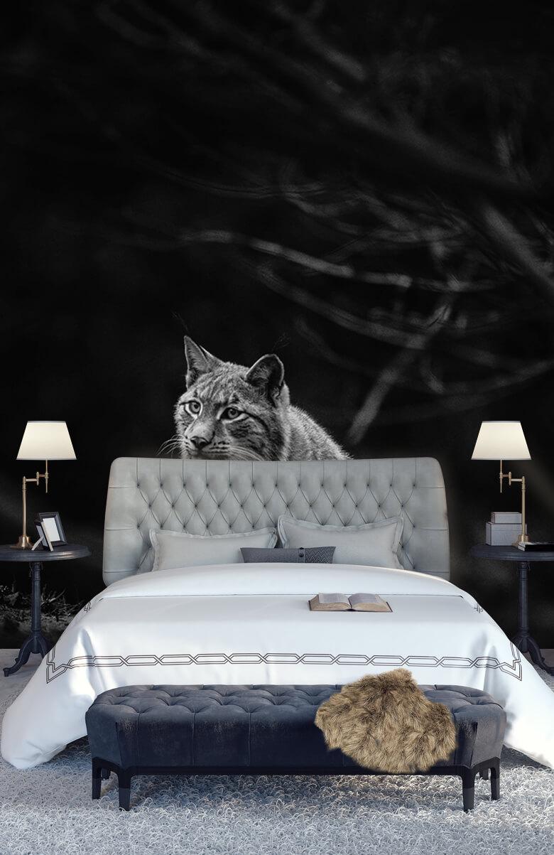 wallpaper Lynx in het bos 14