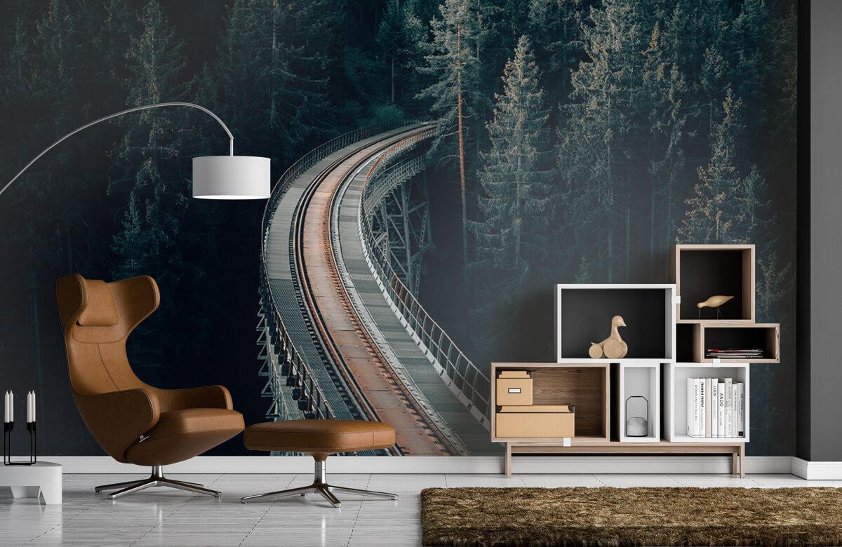 wallpaper Een oude verlaten spoorweg 7