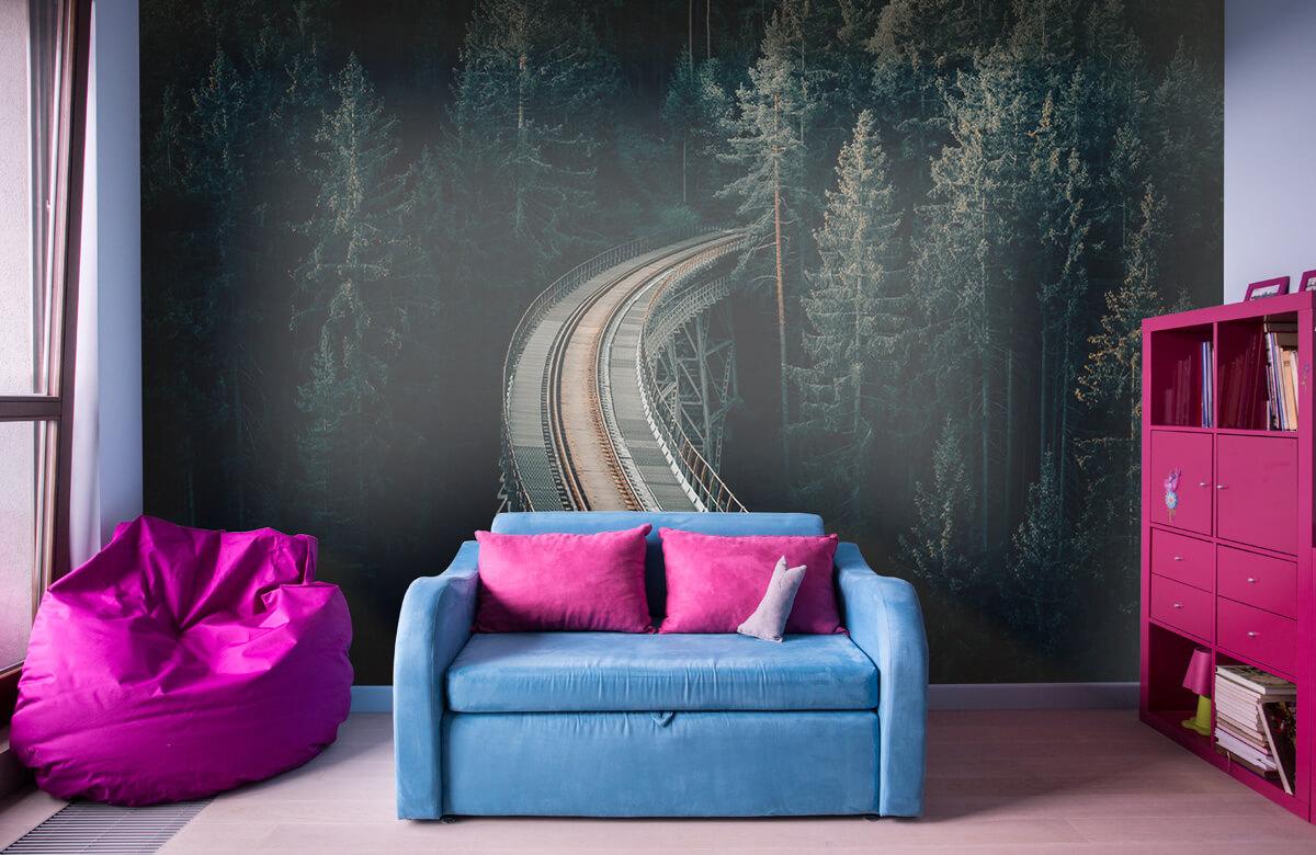 wallpaper Een oude verlaten spoorweg 4