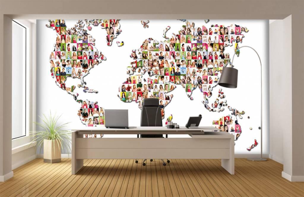 Wereldkaart behang - Wereldkaart gevormd uit foto's - Ontvangstruimte 1