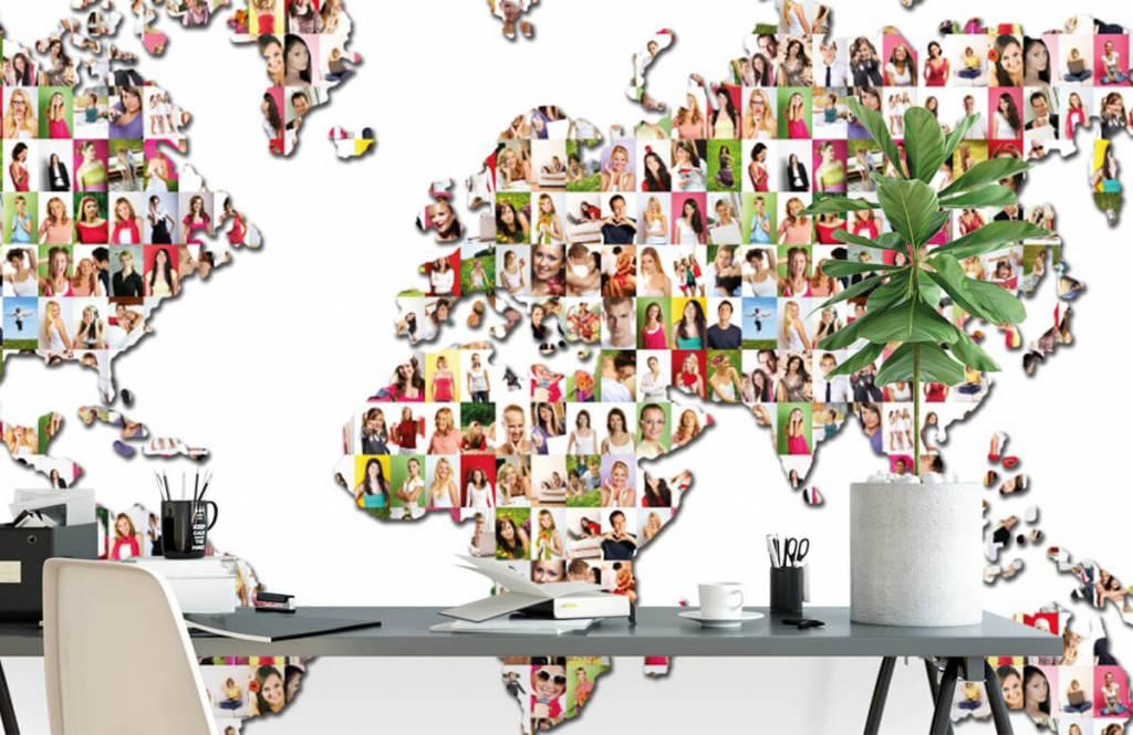 Wereldkaart behang - Wereldkaart gevormd uit foto's - Ontvangstruimte 2