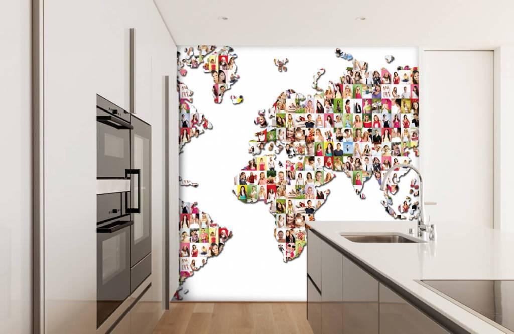 Wereldkaart behang - Wereldkaart gevormd uit foto's - Ontvangstruimte 4