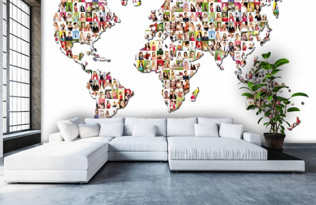 Wereldkaart behang - Wereldkaart gevormd uit foto's - Ontvangstruimte 5