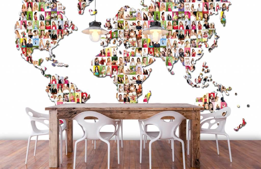 Wereldkaart behang - Wereldkaart gevormd uit foto's - Ontvangstruimte 6