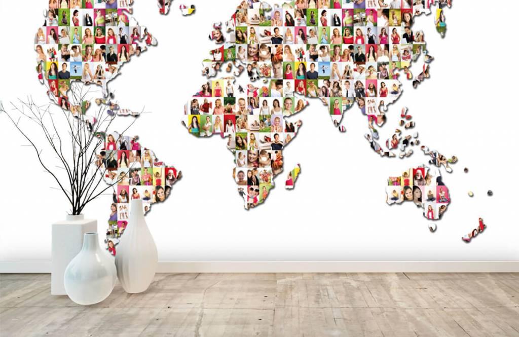 Wereldkaart behang - Wereldkaart gevormd uit foto's - Ontvangstruimte 7