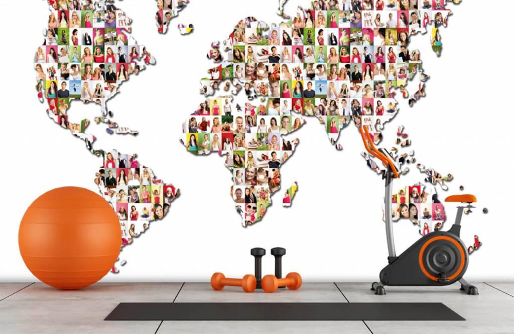 Wereldkaart behang - Wereldkaart gevormd uit foto's - Ontvangstruimte 8