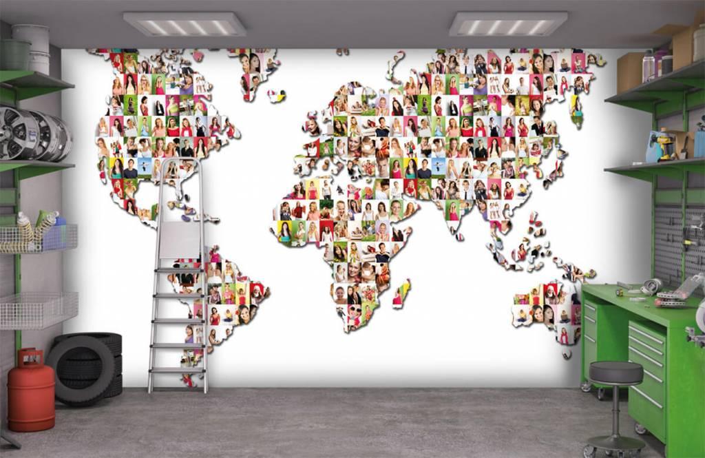 Wereldkaart behang - Wereldkaart gevormd uit foto's - Ontvangstruimte 9