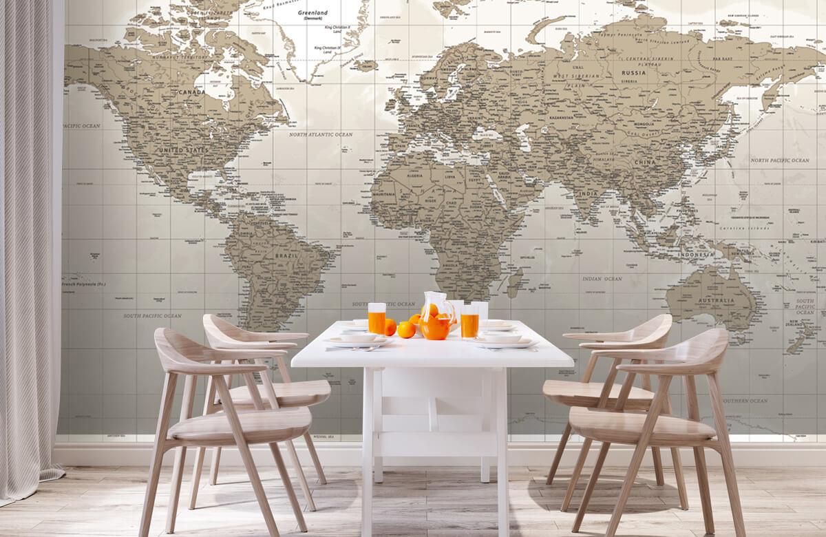 Wereldkaart behang - Vintage wereldkaart - Tienerkamer 2