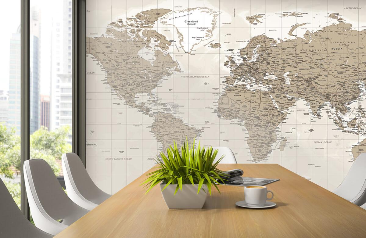 Wereldkaart behang - Vintage wereldkaart - Tienerkamer 3
