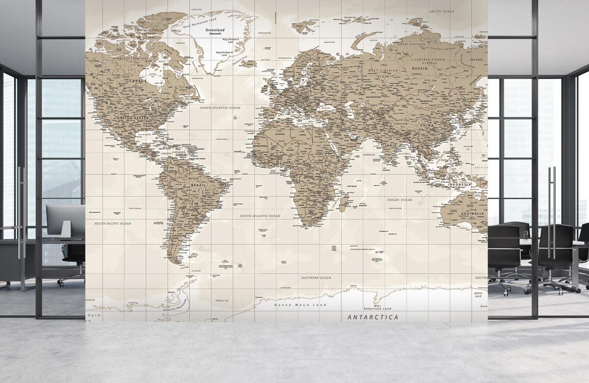 Wereldkaart behang - Vintage wereldkaart - Tienerkamer 4