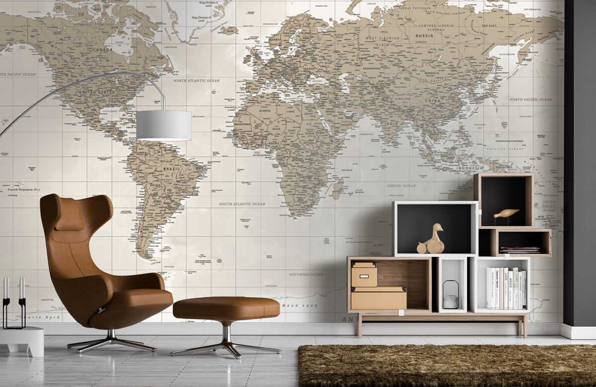 Wereldkaart behang - Vintage wereldkaart - Tienerkamer 5