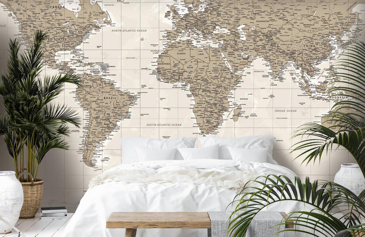 Wereldkaart behang - Vintage wereldkaart - Tienerkamer 1