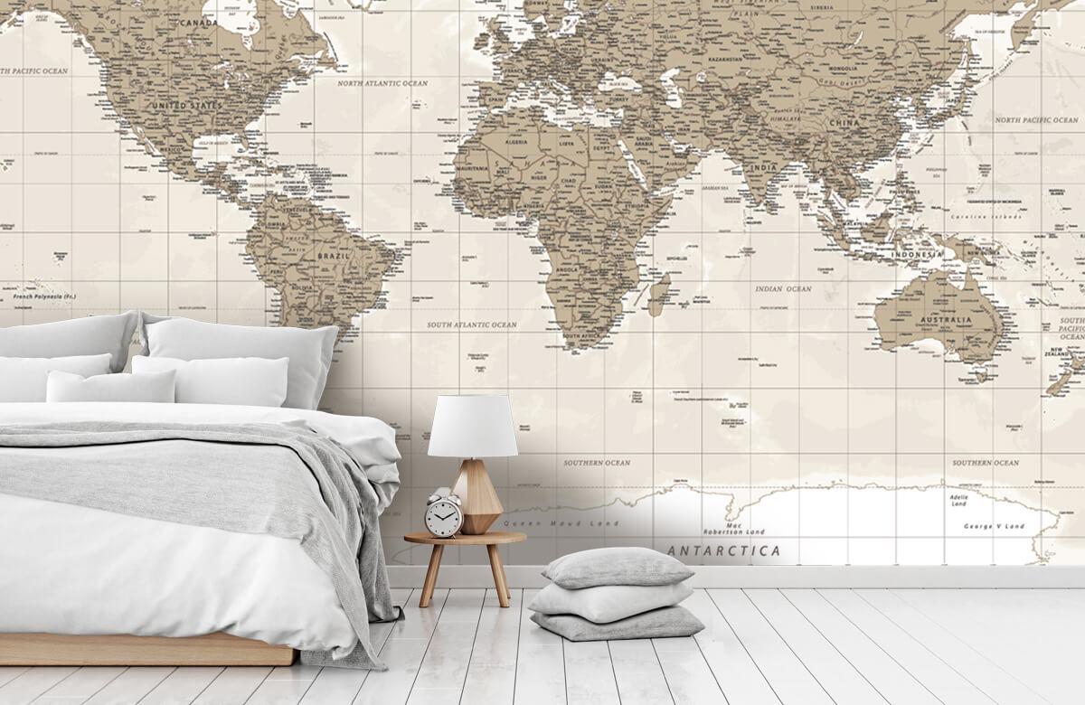 Wereldkaart behang - Vintage wereldkaart - Tienerkamer 7