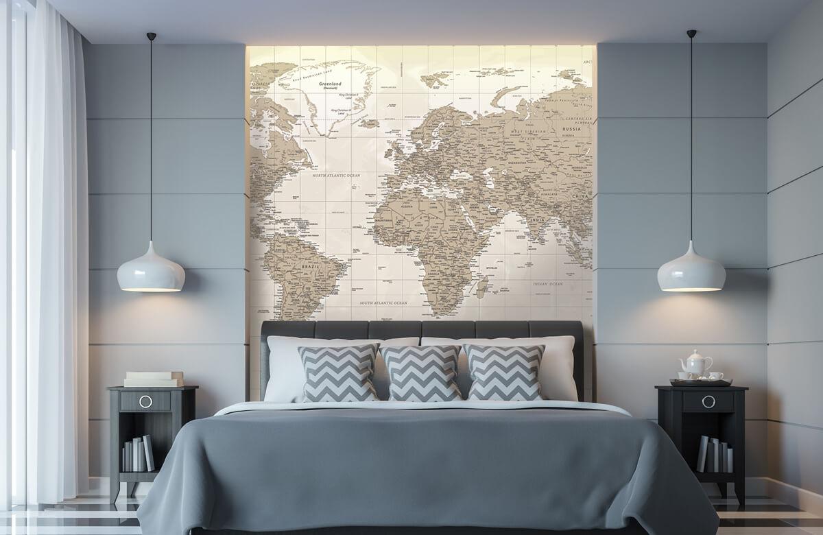 Wereldkaart behang - Vintage wereldkaart - Tienerkamer 8