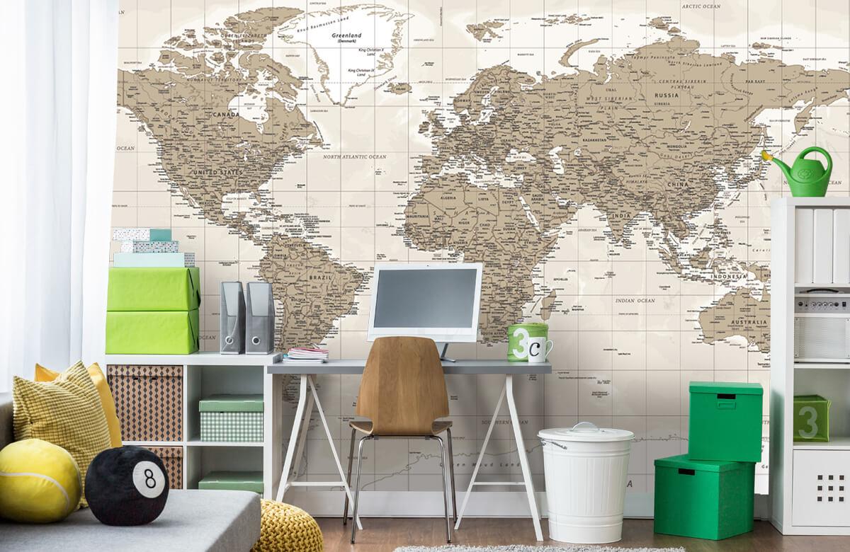 Wereldkaart behang - Vintage wereldkaart - Tienerkamer 9