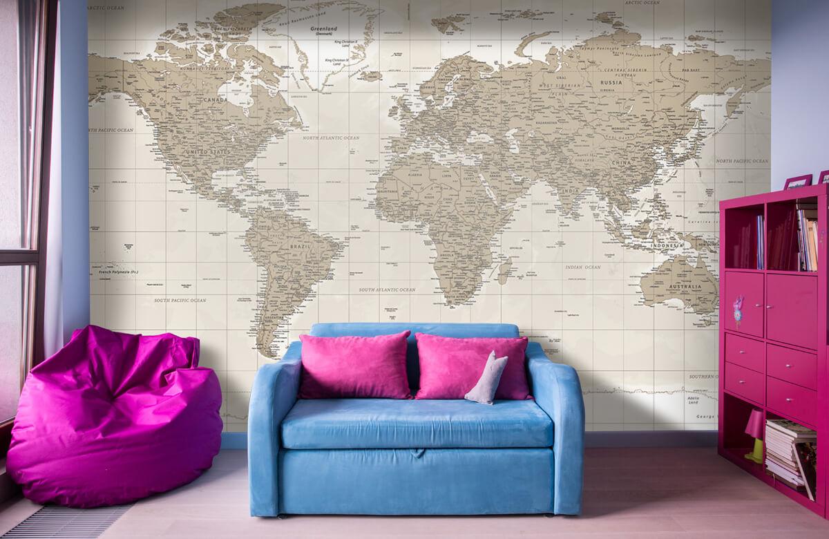 Wereldkaart behang - Vintage wereldkaart - Tienerkamer 10