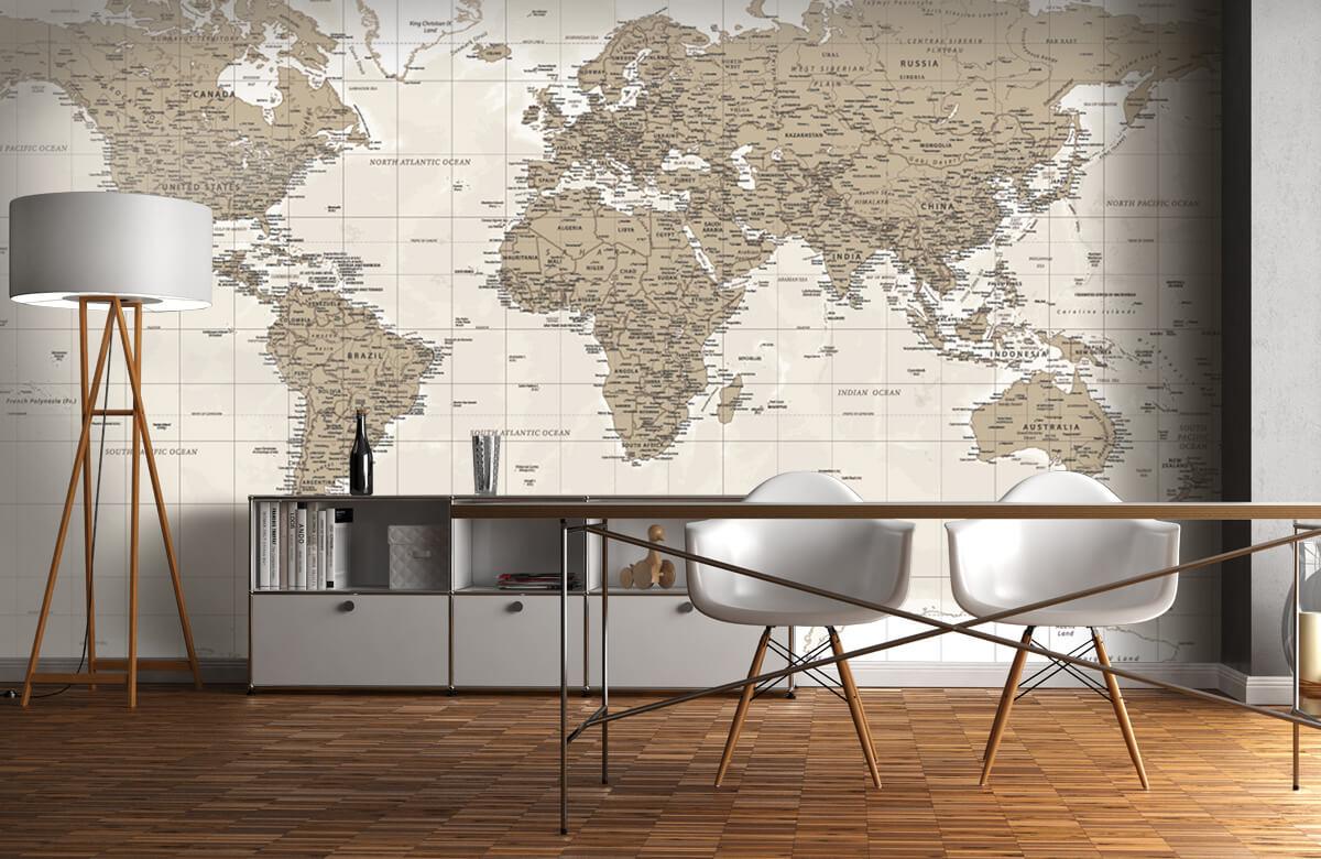 Wereldkaart behang - Vintage wereldkaart - Tienerkamer 11