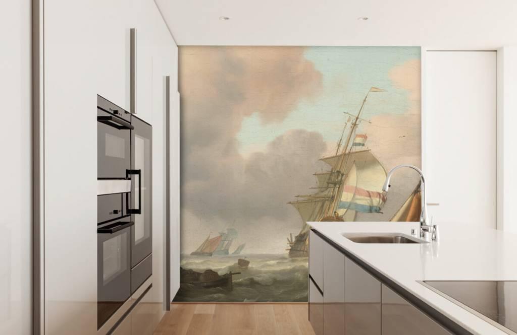 Rijksmuseum - Woelige zee met schepen - Woonkamer 4