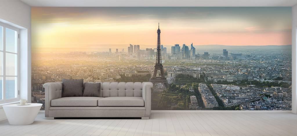 Steden behang - Zonsondergang boven Parijs - Kantine 1