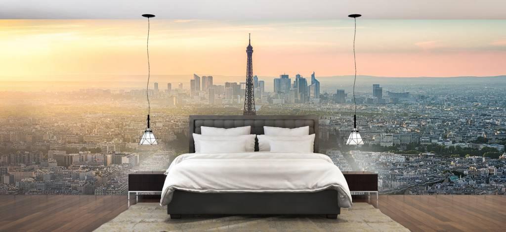 Steden behang - Zonsondergang boven Parijs - Kantine 3
