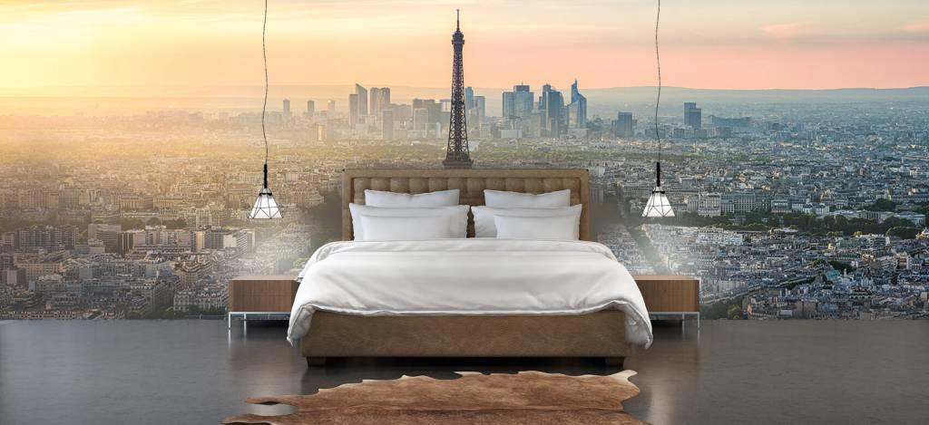 Steden behang - Zonsondergang boven Parijs - Kantine 4