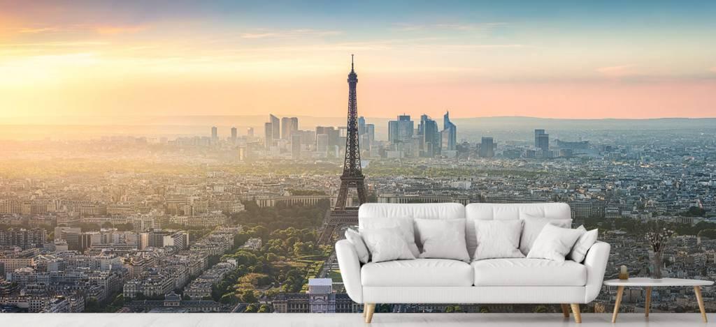 Steden behang - Zonsondergang boven Parijs - Kantine 6