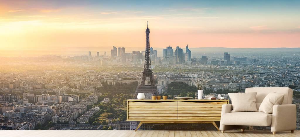 Steden behang - Zonsondergang boven Parijs - Kantine 7