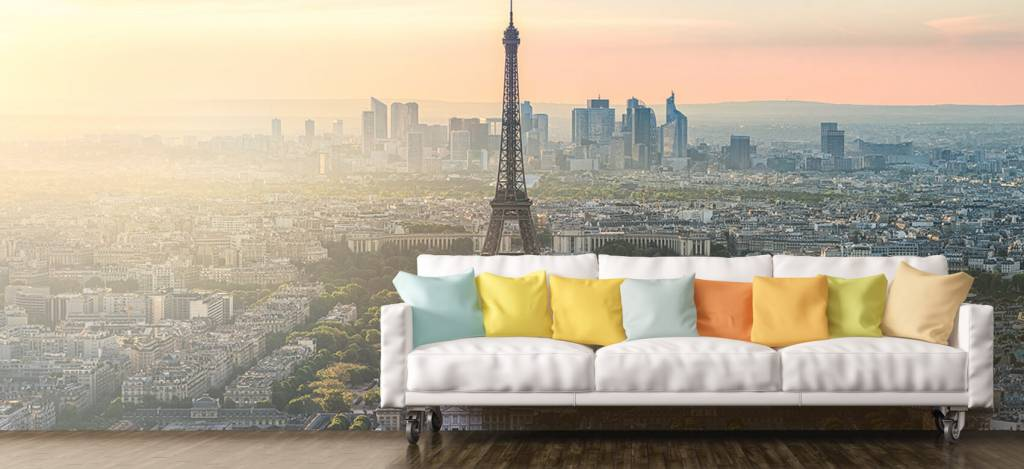 Steden behang - Zonsondergang boven Parijs - Kantine 8