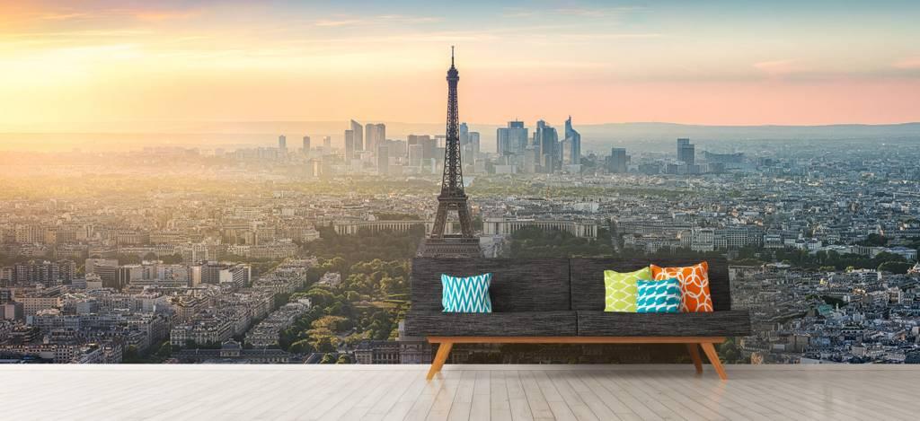 Steden behang - Zonsondergang boven Parijs - Kantine 9