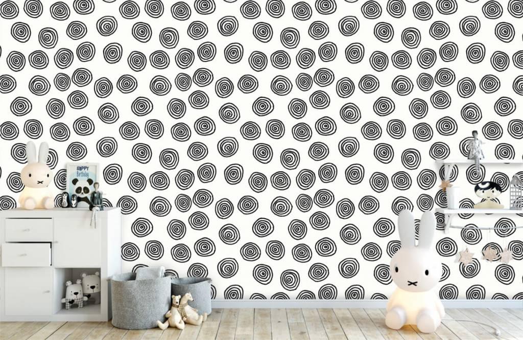 Abstract behang - Abstracte cirkels in zwart/wit - Hobbykamer 1